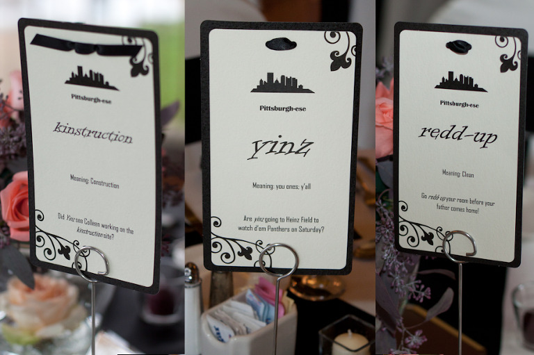Pittsburghese Table Cards