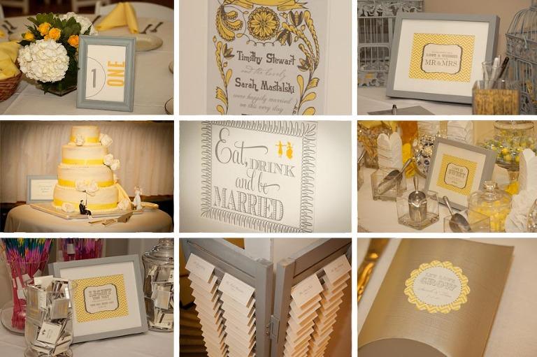 Yellow Gray Wedding details